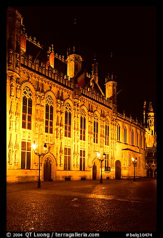 The Burg by night. Bruges, Belgium (color)