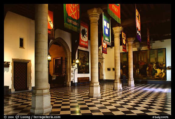 Entrance hall of the town hall. Bruges, Belgium (color)
