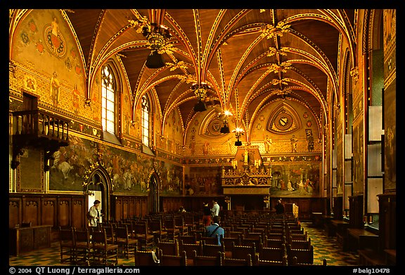 Gothic Hall of the town hall. Bruges, Belgium