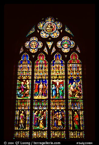 Glass stained window in the Basilica of Holy Blood. Bruges, Belgium