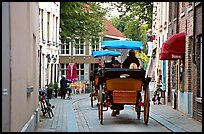 Horse carriage in a narrow street. Bruges, Belgium ( color)