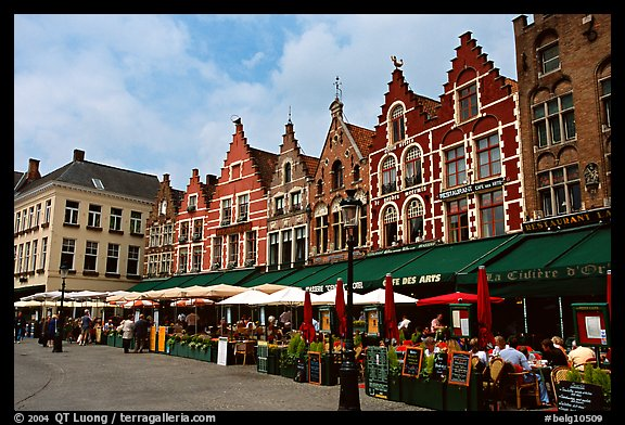 Restaurants and old houses on the Markt. Bruges, Belgium (color)