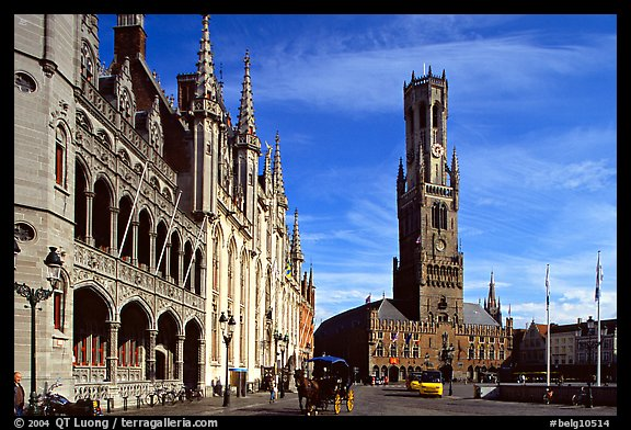 Provinciall Hof in neo-gothic style and beffroi. Bruges, Belgium (color)