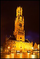 Halletoren belfry at night. Bruges, Belgium