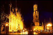 Provinciall Hof and belfort at night. Bruges, Belgium