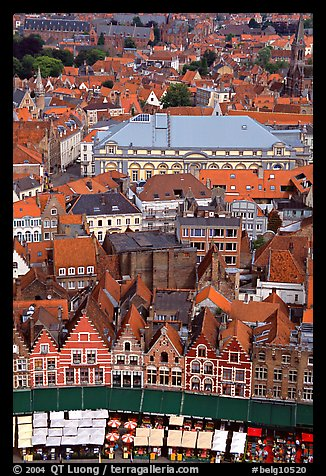 View of the town from tower of the hall. Bruges, Belgium (color)