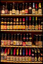 Large selection of bottled beers. Bruges, Belgium (color)