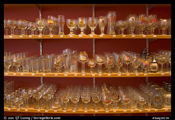 Large variety of glasses used to drink specific beers. Bruges, Belgium (color)
