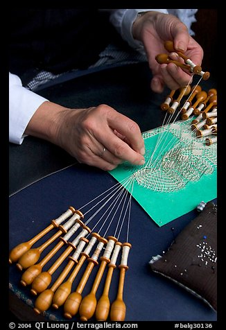 Hands of a lacemaker at work. Bruges, Belgium (color)