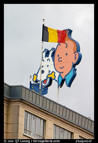 Tintin, Milou, and Belgian flag. Brussels, Belgium (color)