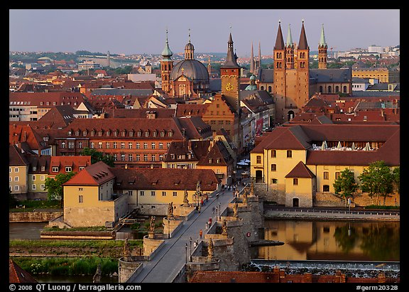 Alte Mainbrucke bridge and Neumunsterkirche church. Wurzburg, Bavaria, Germany (color)
