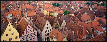 Rooftops of Rothenburg medieval town. Rothenburg ob der Tauber, Bavaria, Germany (Panoramic color)