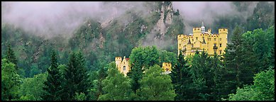 Hohenschwangau castle on forested hillside. Bavaria, Germany (Panoramic color)