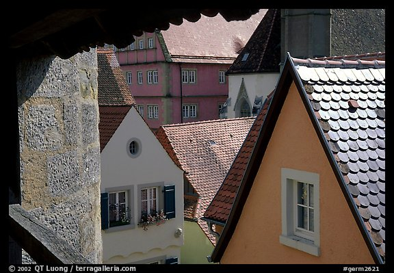 Rooftops seen from the Ramparts. Rothenburg ob der Tauber, Bavaria, Germany (color)
