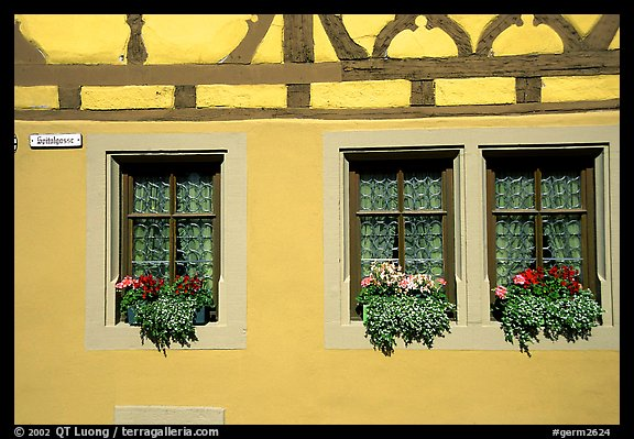 Detail of half-timbered house. Rothenburg ob der Tauber, Bavaria, Germany (color)