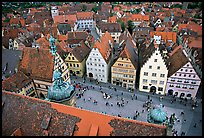 Marktplatz seen from the Rathaus tower. Rothenburg ob der Tauber, Bavaria, Germany ( color)