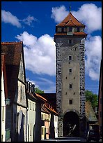 Tower of the rampart walls. Rothenburg ob der Tauber, Bavaria, Germany (color)