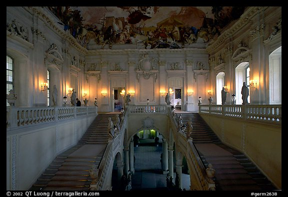Main staircase in the Residenz. Wurzburg, Bavaria, Germany (color)