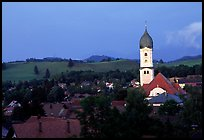 Nesselwang and St Andreas church. Bavaria, Germany (color)