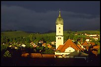 Nesselwang and St Andreas church, storm light. Bavaria, Germany (color)