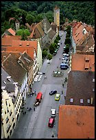 House rooftops and Street seen from the Rathaus tower. Rothenburg ob der Tauber, Bavaria, Germany ( color)