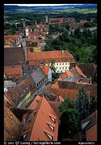 Rooftops seen from the Rathaus tower. Rothenburg ob der Tauber, Bavaria, Germany (color)