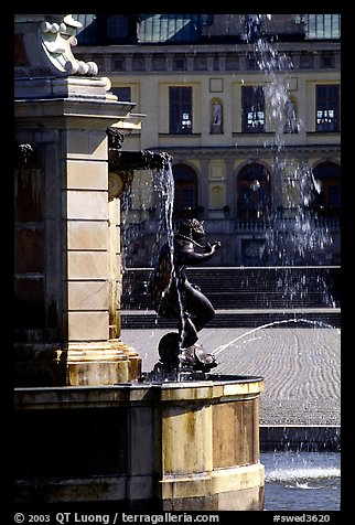 Fountain in royal residence of Drottningholm. Sweden (color)