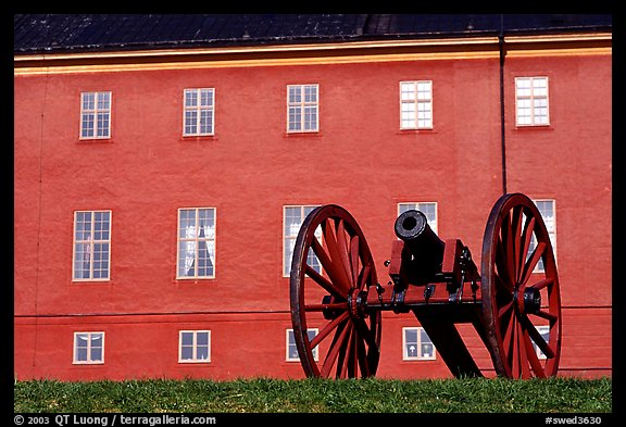 Cannon in front of Uppsala castle. Uppland, Sweden (color)
