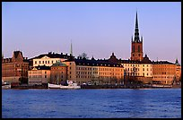 View of Gamla Stan with Riddarholmskyrkan. Stockholm, Sweden (color)