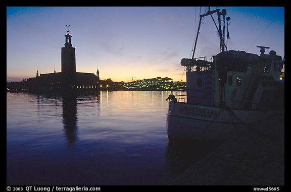 Fishing boat and Stadshuset. Stockholm, Sweden (color)