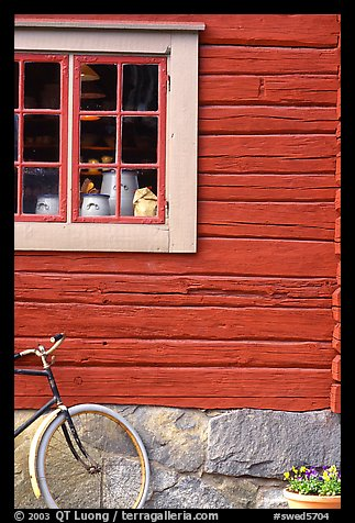 Bicycle and window. Stockholm, Sweden (color)