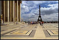 Eiffel tower seen from the marble surface of Parvis de Chaillot. Paris, France ( color)