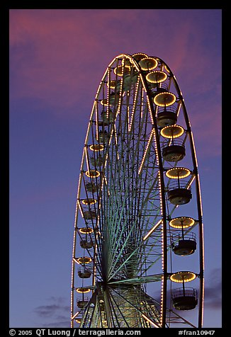 Tuileries Ferris wheel at sunset. Paris, France (color)
