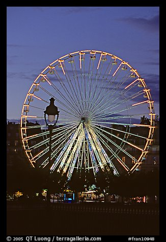 Ferris wheel in the jardin des Tuileries at sunset. Paris, France (color)