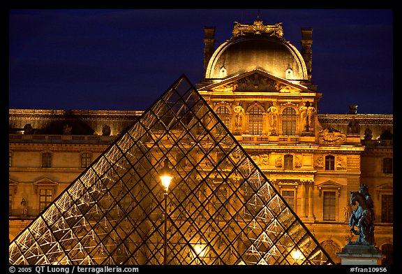Pyramid and Louvre at night. Paris, France (color)