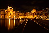 Louvre  at night. Paris, France (color)