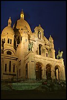 Sacre-coeur basilic at night, Montmartre. Paris, France (color)