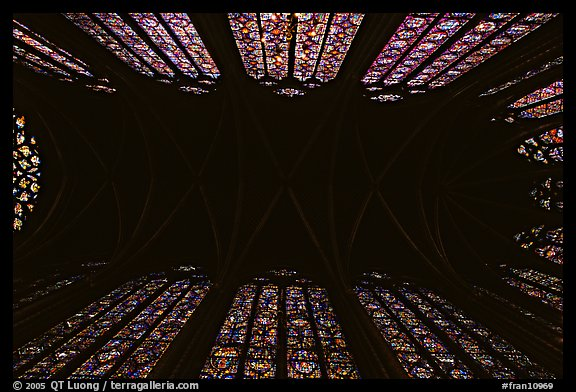 Ceiling and stained glass of Upper Holy Chapel. Paris, France (color)