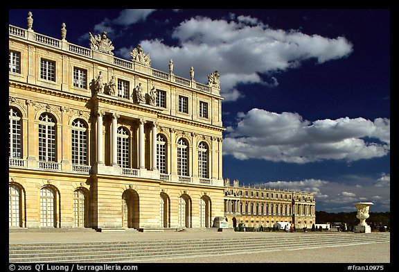 Versailles Palace facade in classical style. France (color)