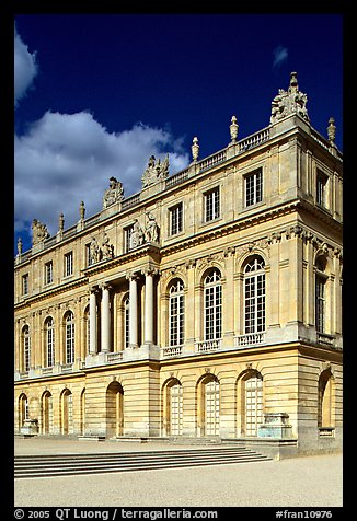 Facade of the Versailles palace, late afternoon. France