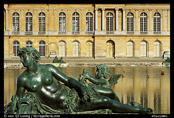 Statue, basin, and facade, afternoon, Palais de Versailles. France (color)