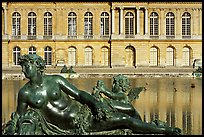 Statue, basin, and facade, afternoon, Palais de Versailles. France