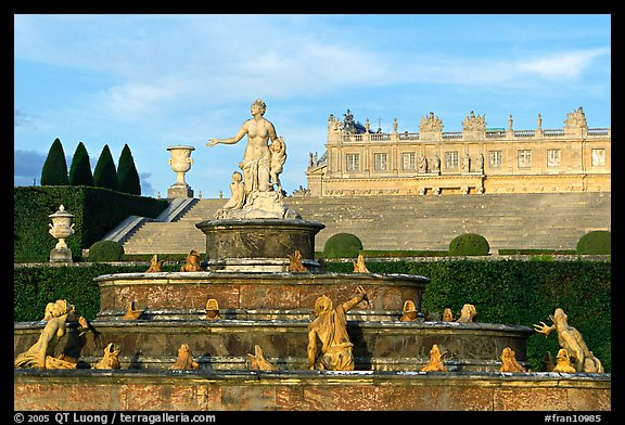 Fountain in the Versailles palace extensive gardens. France (color)