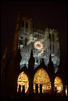 Cathedral facade illuminated at night, Amiens. France ( color)