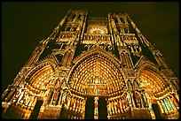 Looking up Notre Dame Cathedral laser-illuminated to recreate original colors, Amiens. France ( color)