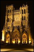 Notre Dame Cathedral at night, Amiens. France ( color)