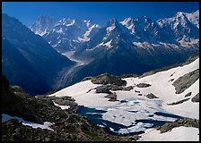 Frozen Lac Blanc, and Mont-Blanc Range, morning, Chamonix. France (color)
