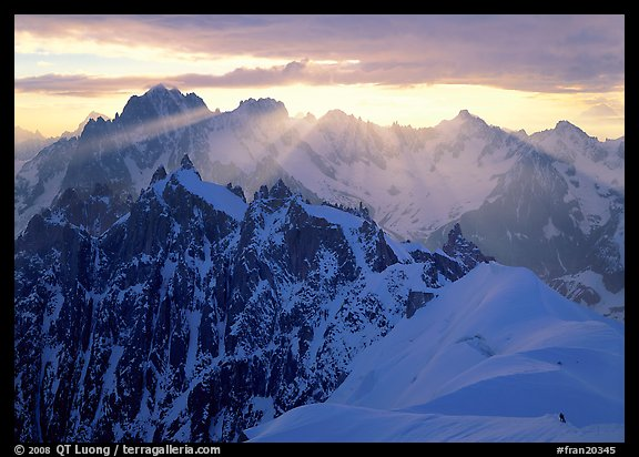 Sunrays over Chamonix Aiguilles, Aiguille Verte, Droites, and Courtes, Chamonix. France (color)