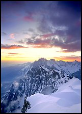 Midi-Plan ridge, Aiguille Verte, Droites, and Courtes at sunrise, Chamonix. France (color)