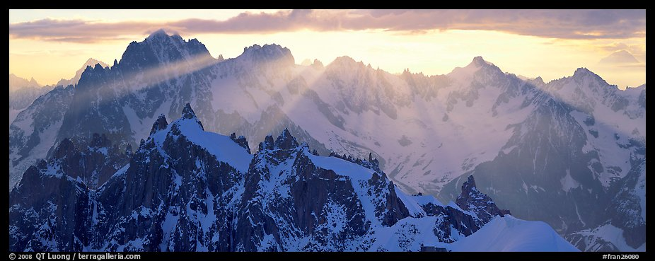 Rugged peaks of the Mont-Blanc Range. France (color)